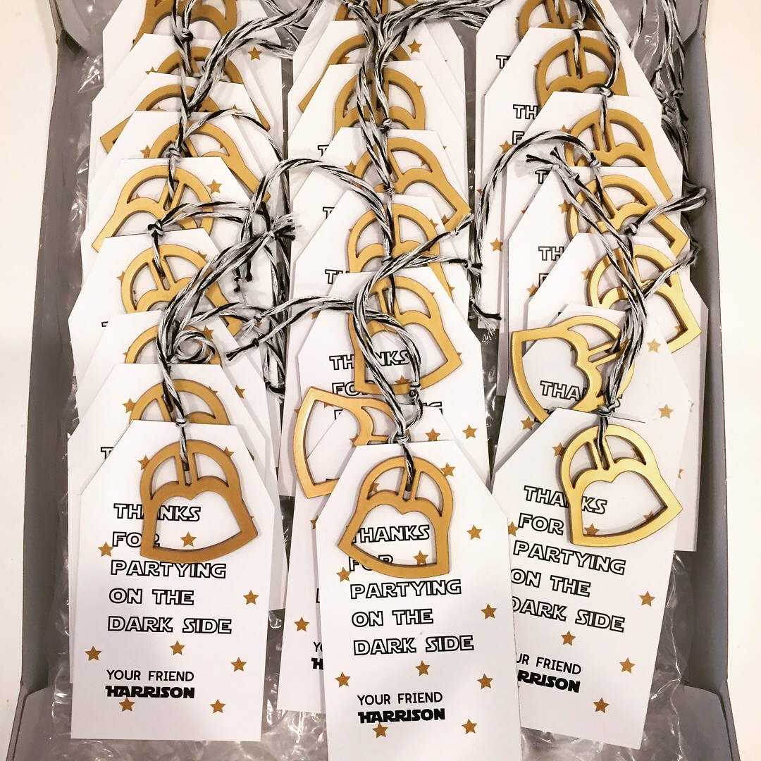 Laser cut tag accessory in acrylic