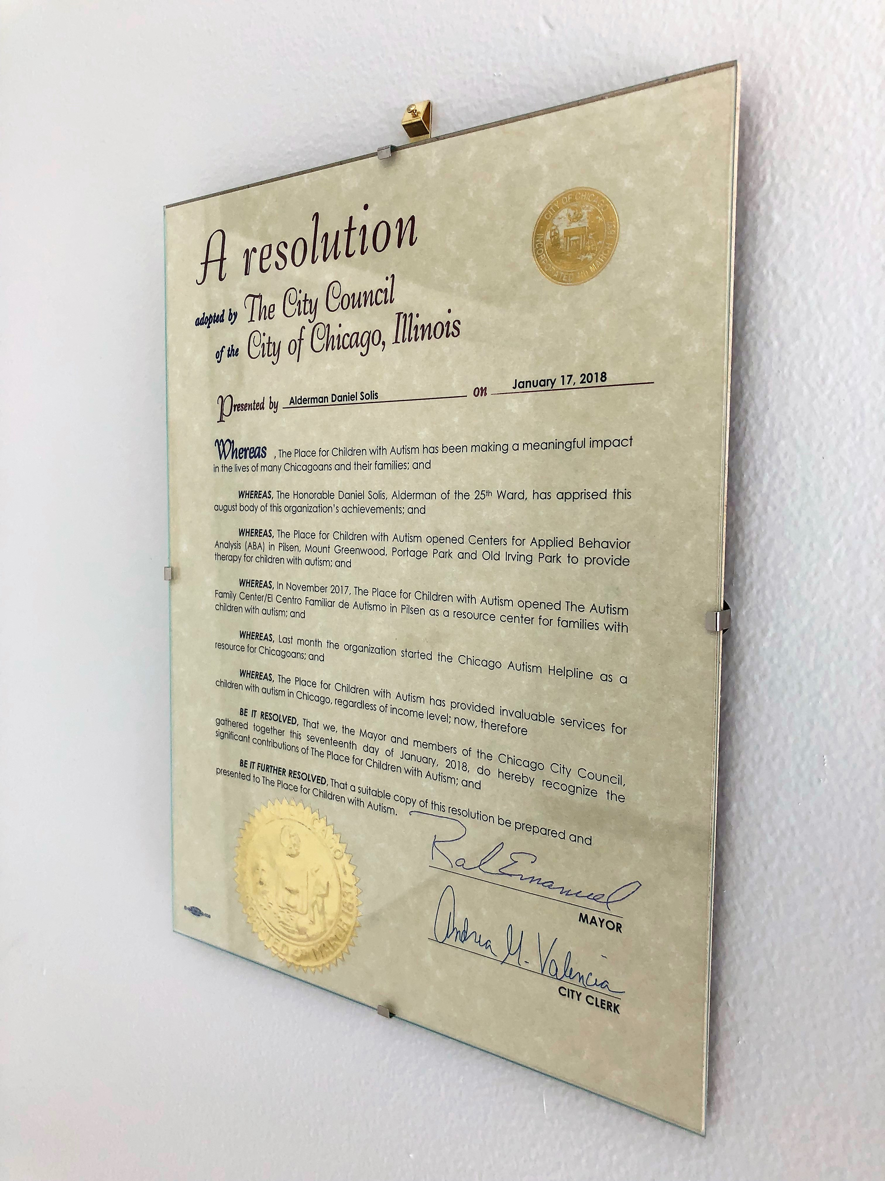 The Place Presented with Resolution by Alderman Solis and Mayor Rahm Emanuel