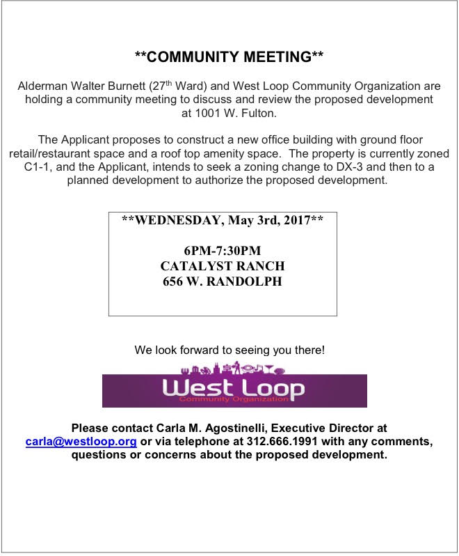 Community Meeting May 3rd for Proposed Development at 1001 W. Fulton