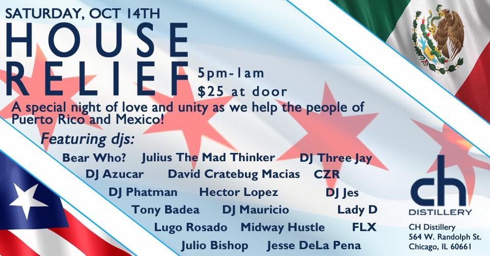 CH Distillery to bring some relief to Mexico and Puerto Rico - House Relief party on 10/14