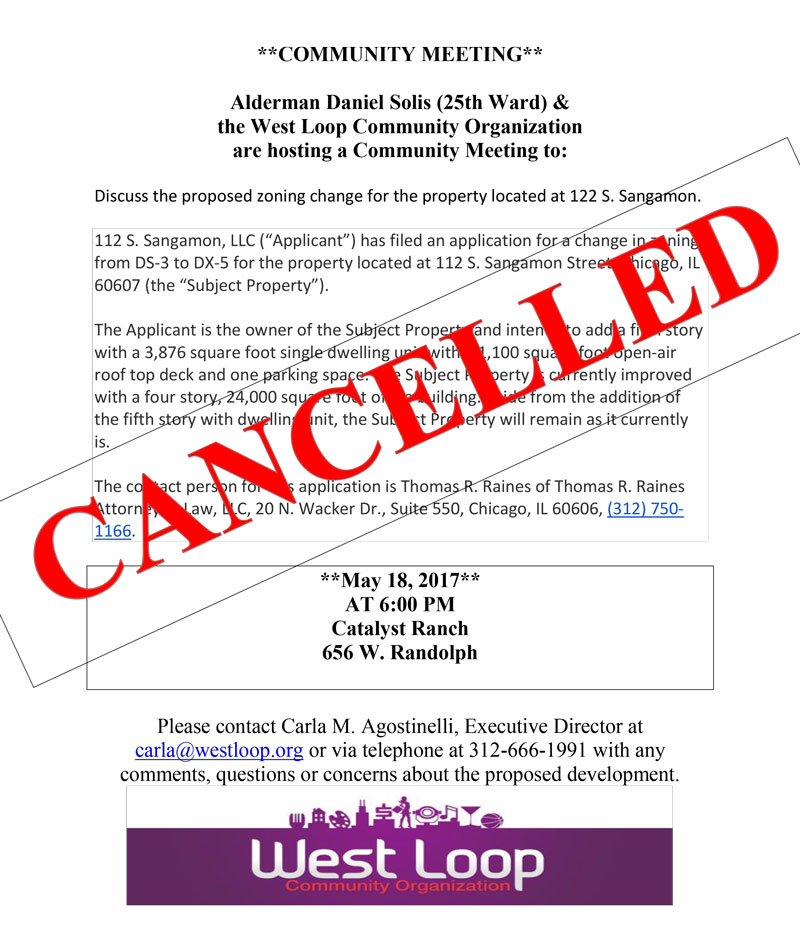 CANCELLED Community Meeting May 18th for Proposed Development at 122 S. Sangamon