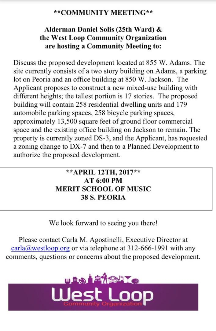 Community Meeting Notice: 855 Adams