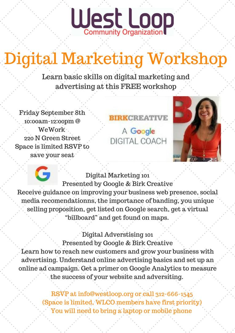 Digital Marketing Workshop September 8th