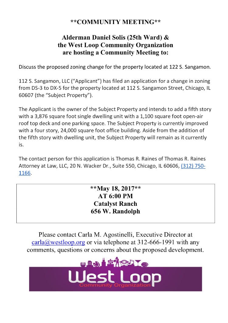 Community Meeting May 18th for Proposed Development at 122 S. Sangamon