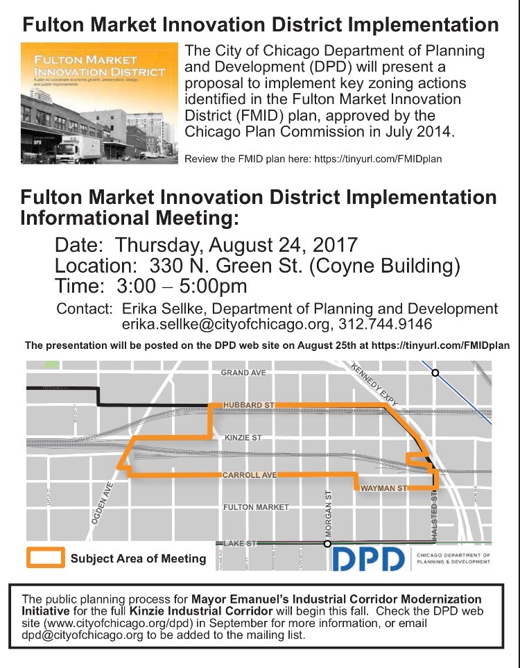 Community Meeting August 24th Regarding the Fulton Market Innovation District Plan Zoning Implementation Action