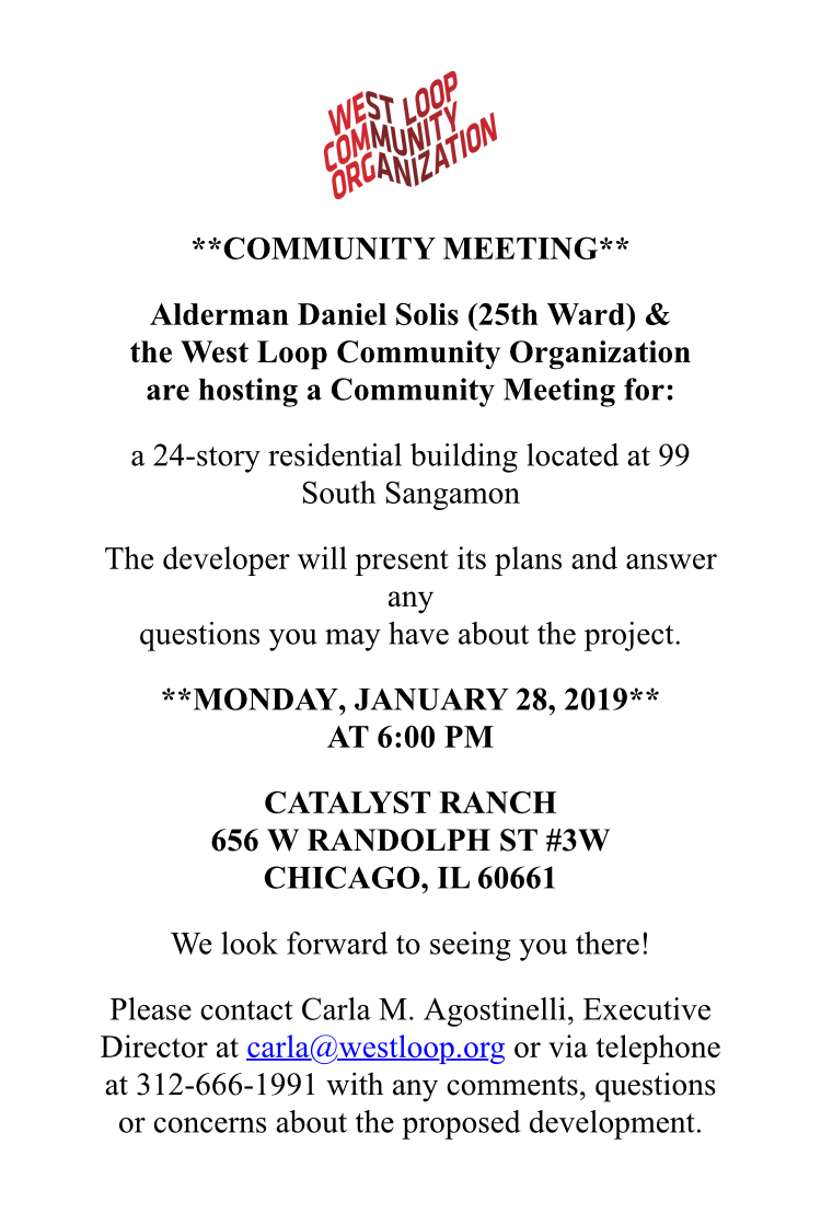 Community Meeting for Proposed Development at 99 South Sangamon