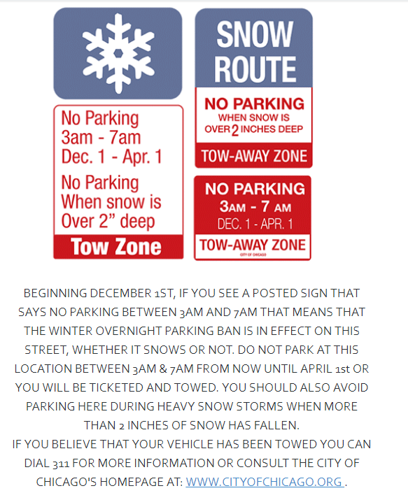 Winter Overnight Parking Ban Begins December 1