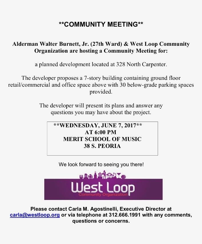 COMMUNITY MEETING JUNE 7TH FOR PROPOSED DEVELOPMENT AT 328 N. CARPENTER