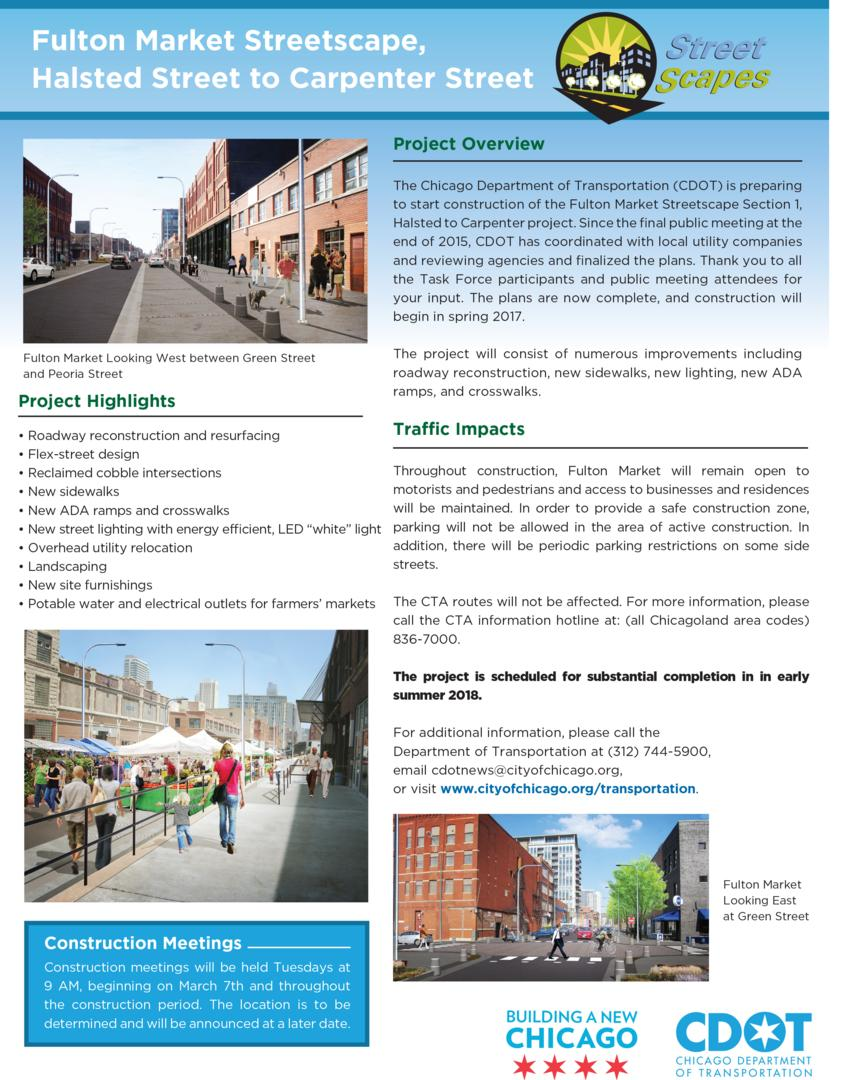Fulton Market Streetscape, Halsted Street to Carpenter Street Project Overview
