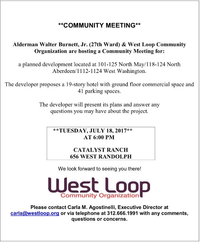 Community Meeting Notice for July 18