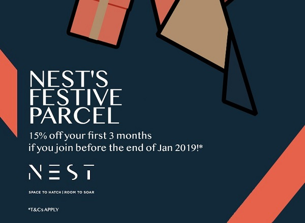 NEST'S Festive Offer - 15% off membership first 3 months!