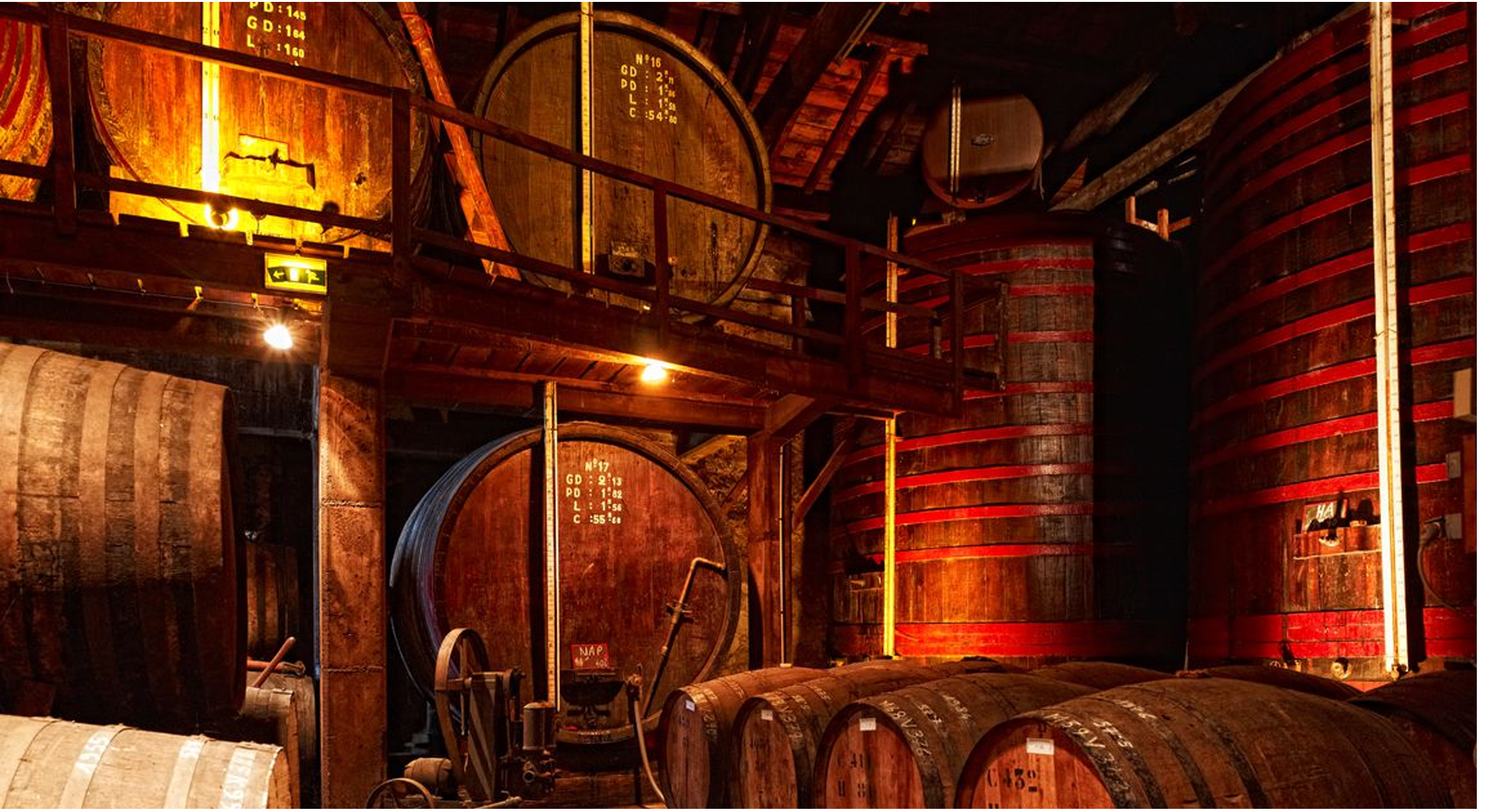 a warm view of our storage room with wooden barrels of spirits