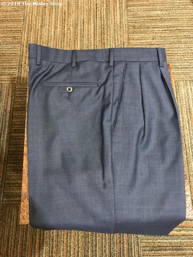 Zanella Bennett Double Reverse Pleated Slacks Blue Sharkskin