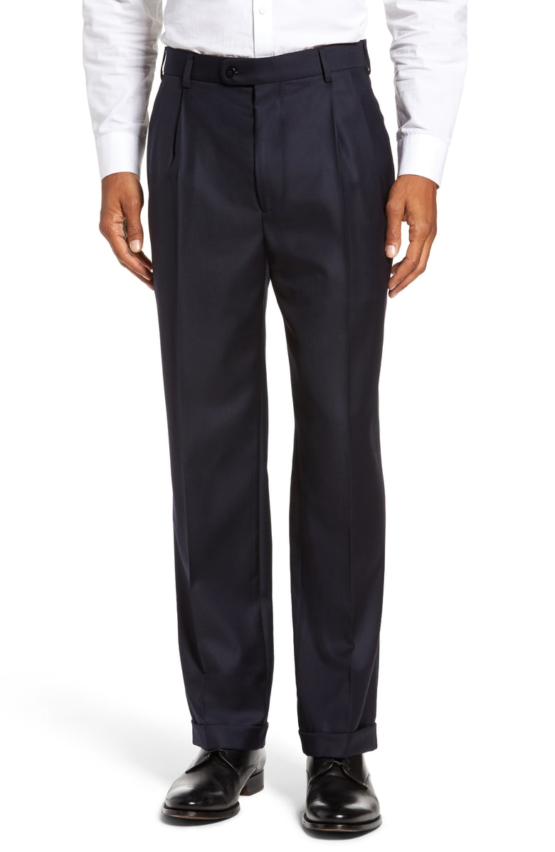 Zanella Bennett Solid Serge Double Reverse Pleated Slacks