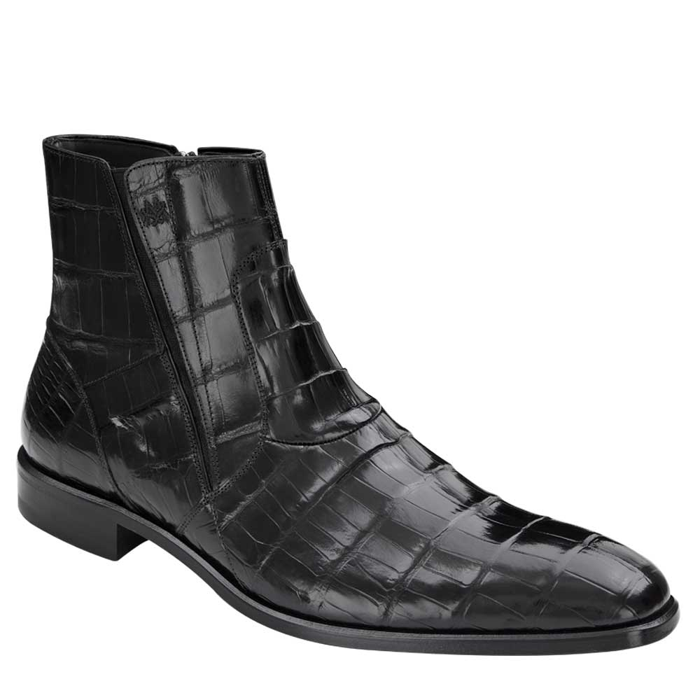 Mezlan Belucci Classic Genuine Alligator Boot Black 3663-J