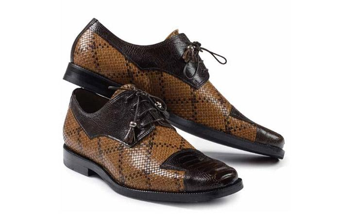 Fall 2018 Mauri Ostrich Leg Woven Calf Leather Brown  M620