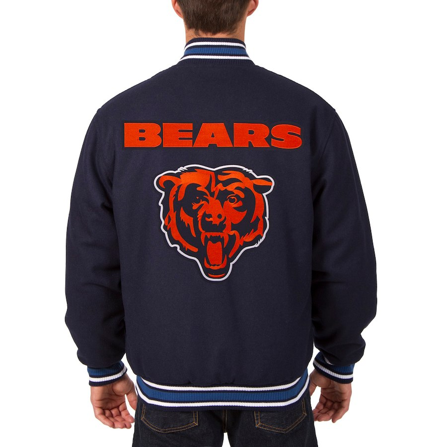 Chicago Bears JH Design Wool Reversible Jacket Navy