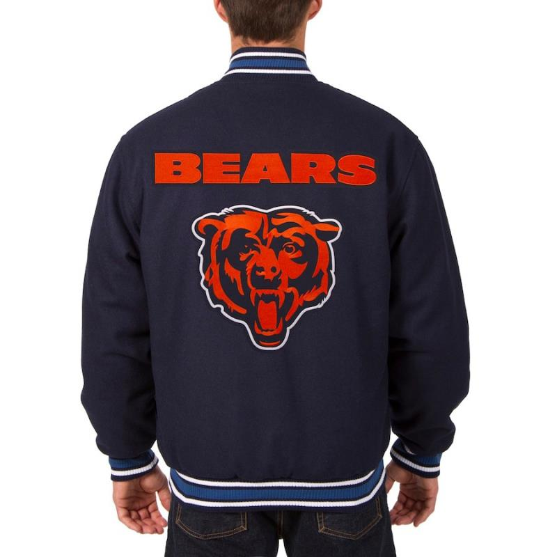 Chicago Bears JH Design Wool Reversible Jacket Navy