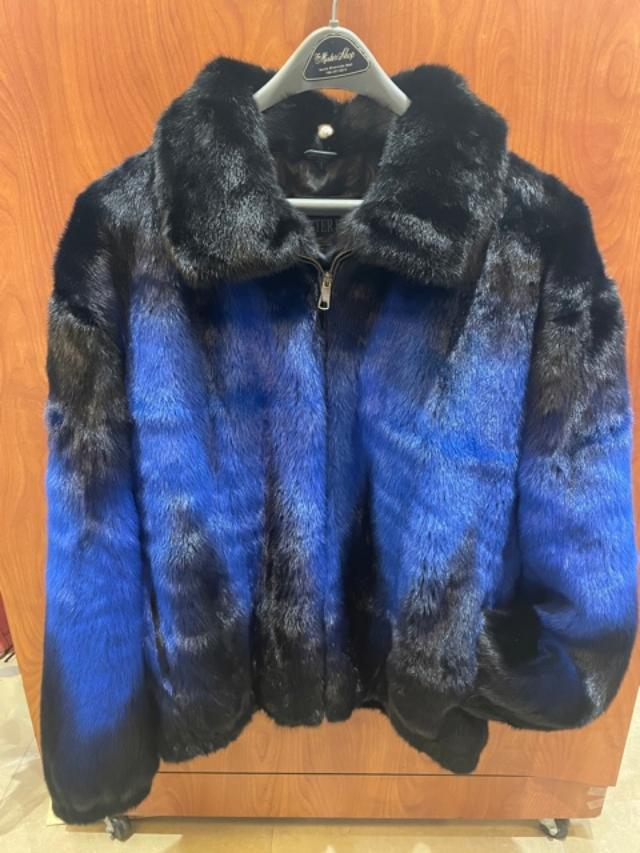 Winter Fur Men's Full Skin Two Shade Mink Jacket White& Blue