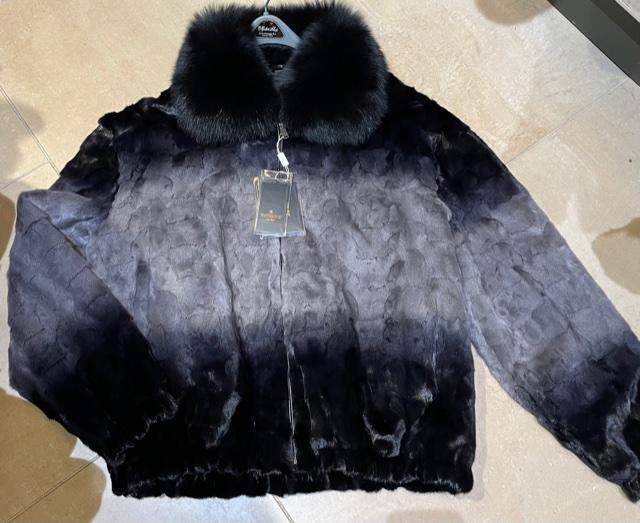 Winter Fur Men's Two Tone Diamond Mink Section Jacket