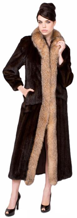 Gliagias Furs Women's Mahogany Mink Coat with Fox Tuxedo Collar