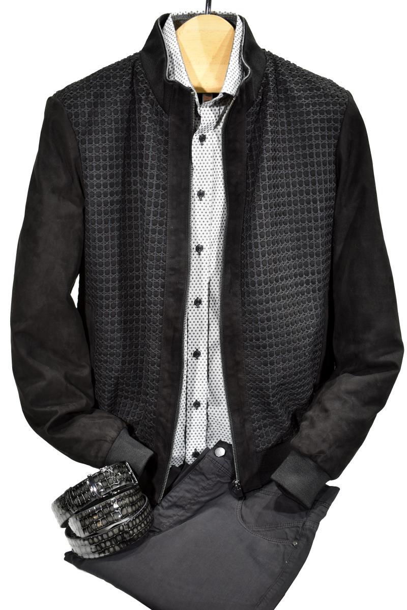 Marcello Sport Suede Jacket Black J606
