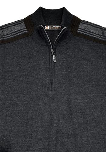 Marcello Knitted Merino Wool Blend Zip Mock Sweater Charcoal 509