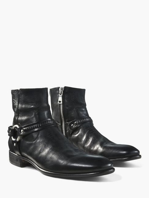 John Varvatos Eldridge Harness Leather Boot Black F3306S4-Y936