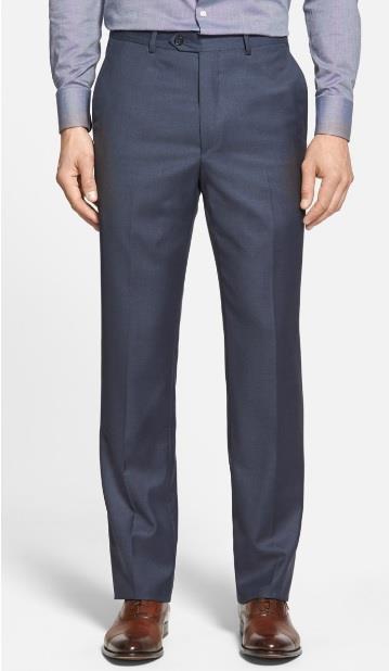 Chiari Solid Serge Flat Front Wool Slack