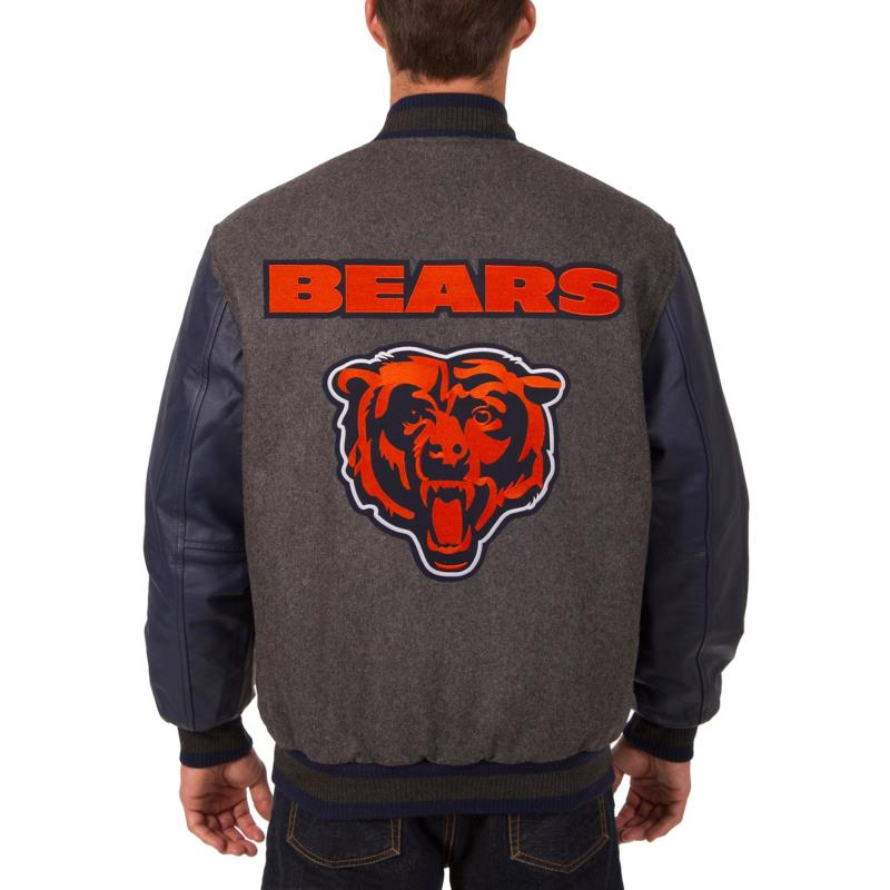 Chicago Bears JH Design Wool/Leather Reversible Jacket Charcoal