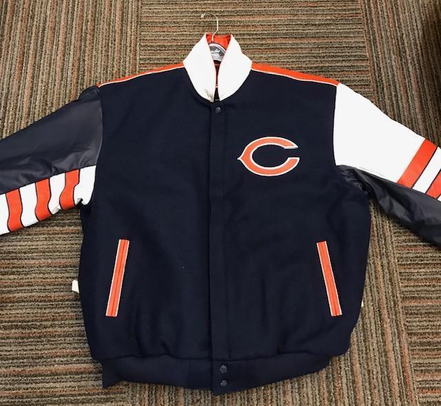 Chicago Bears Throw Back JH Design Wool/Leather Jacket Orange