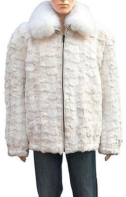 Winter Fur Ladies Two Tone Diamond Mink Section Jacket