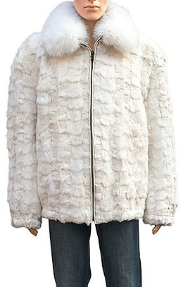 Winter Fur Ladies Two Tone Diamond Mink Section Jacket