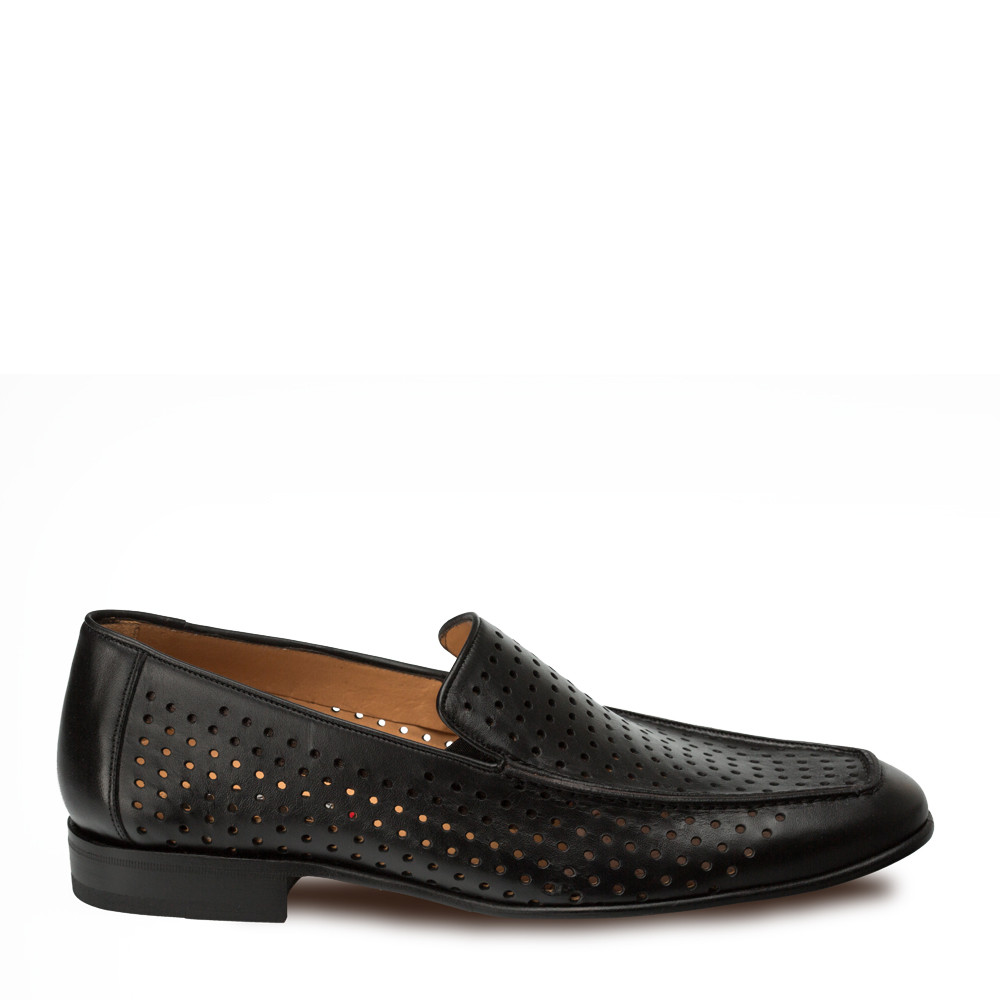 Mezlan Astori Perforated Calfskin Slip On Black 8889