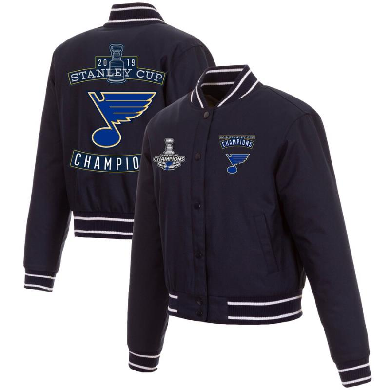 JH Design 2019 NHL Stanley Cup Champions St Louis Blues Reversible Wool Jacket