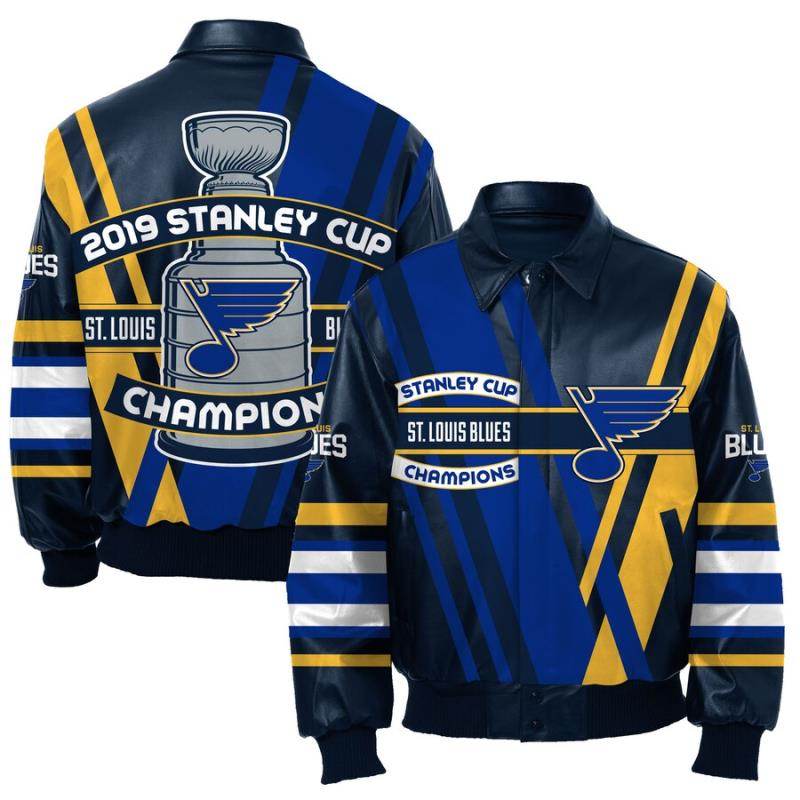 JH Design 2019 NHL Stanley Cup Champions St Louis Blues All Leather Jacket
