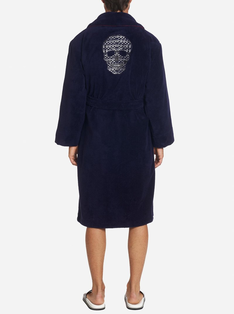 Robert Graham Skull Terry Bath Robe Navy