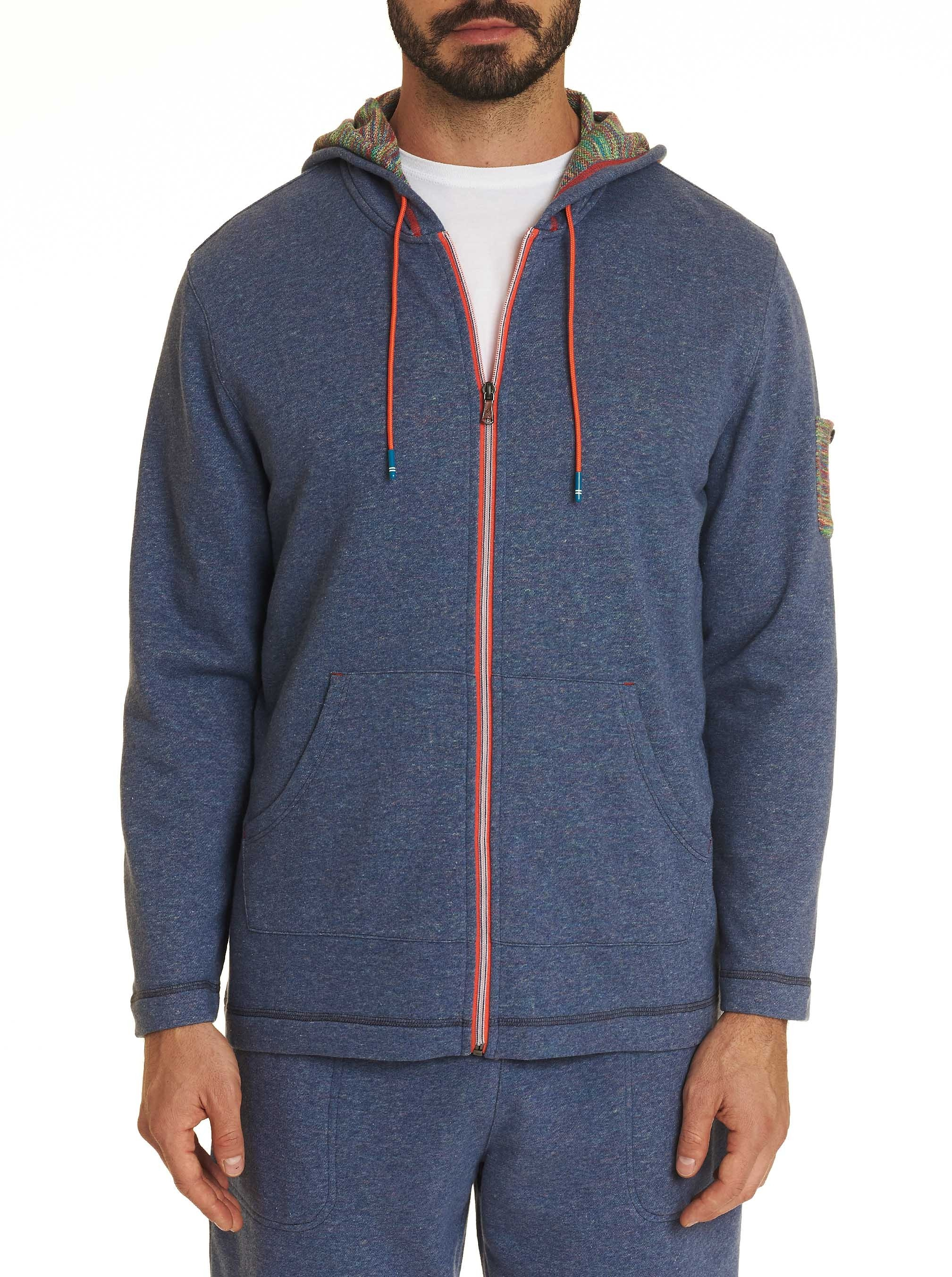 Robert Graham French Terry Knit Hoodie Blue