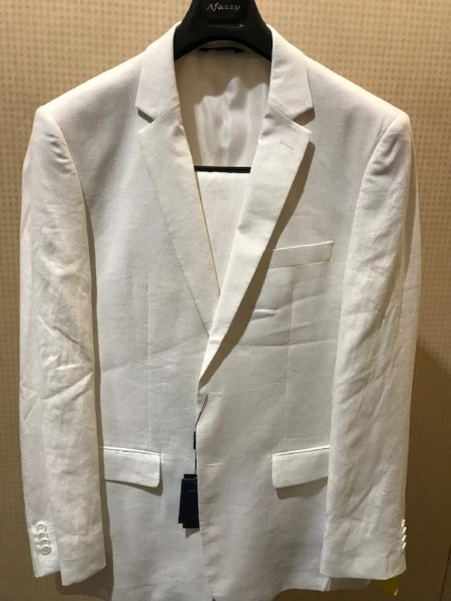 Afazzy Beach Summer Wedding 100 % Linen Suit White
