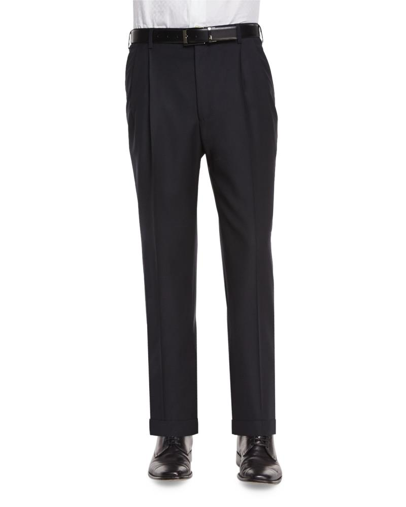 Zanella Bennett Tasmanian Double Reverse Pleated Super 150's Slack Black