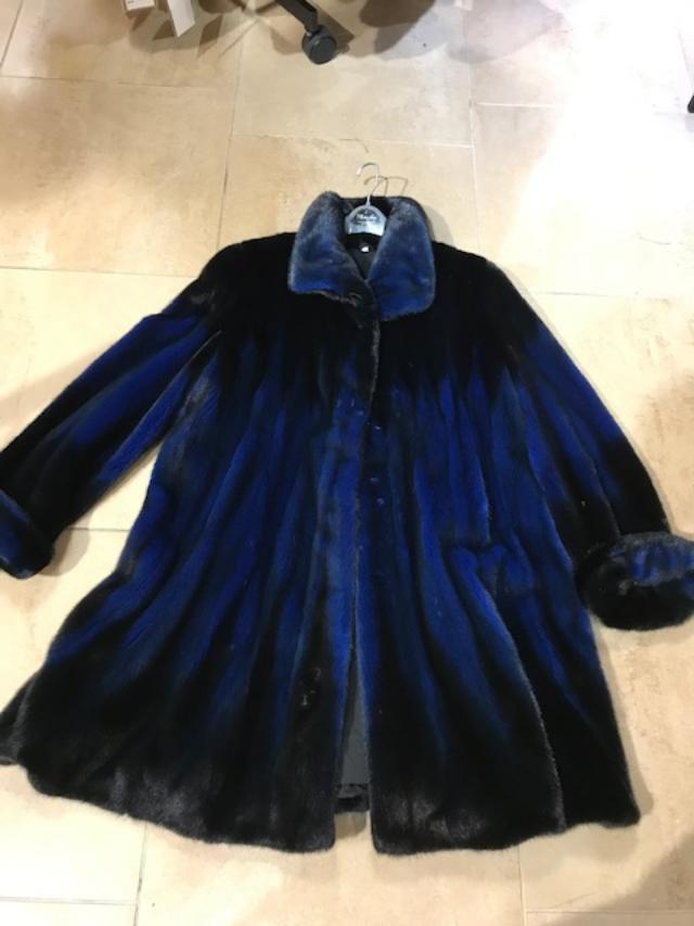 Rendezvous Two Tone Mink Fur Stroller Swing Jacket Black/Blue