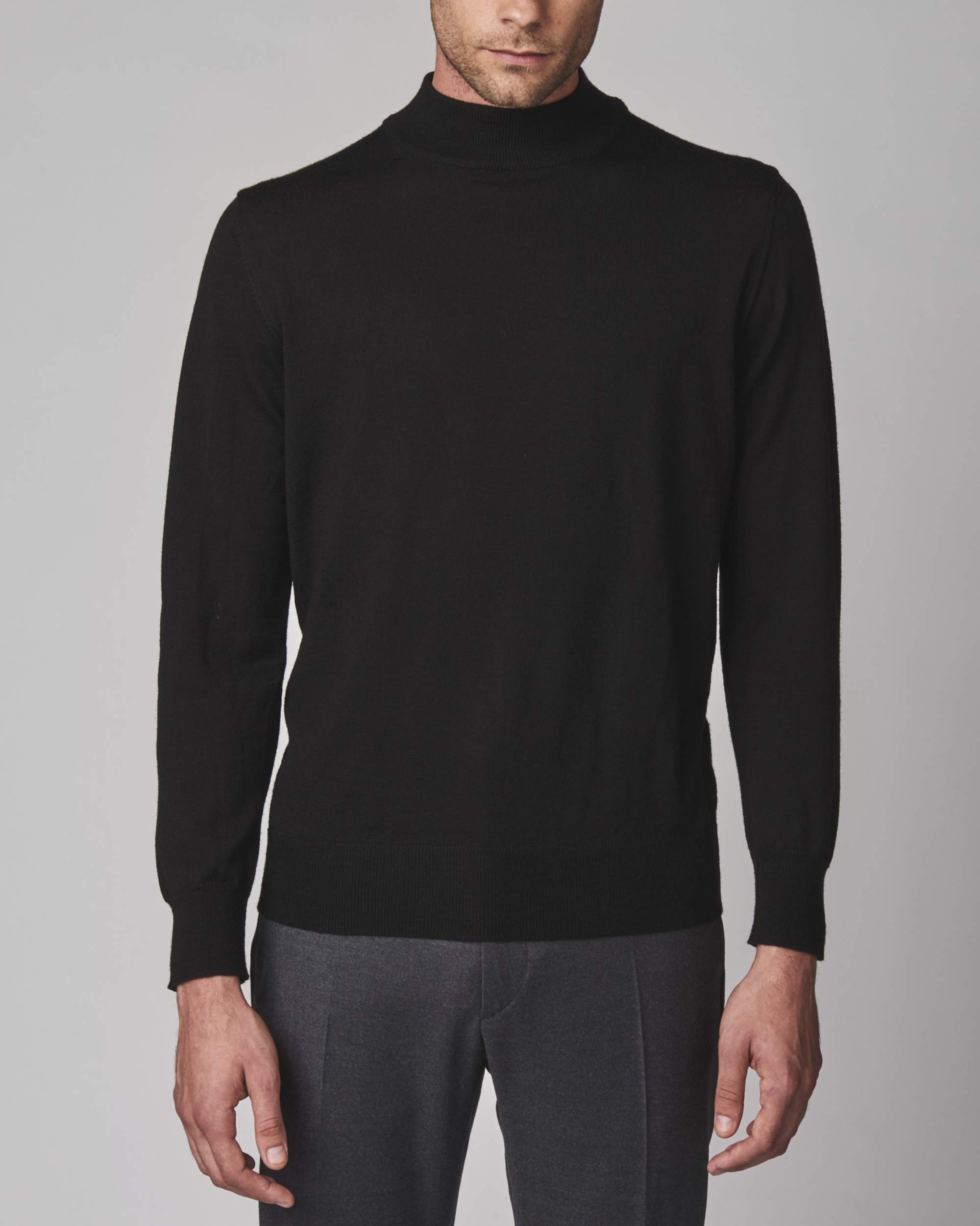 Zanella Merino Wool Mock Neck Knit Sweaters