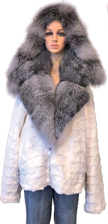 Winter Furs Women's Diamond Mink Motor Fur Jacket
