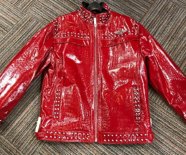 BIGS Originale Studded Embossed Patent Gator Leather Jacket