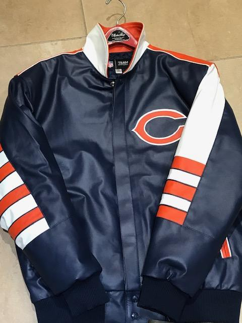 Chicago Bears Throw Back JH Design All Leather Jacket Orange (S-2X)