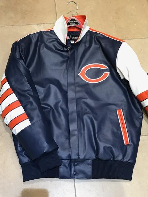 Chicago Bears Throw Back JH Design All Leather Jacket Orange