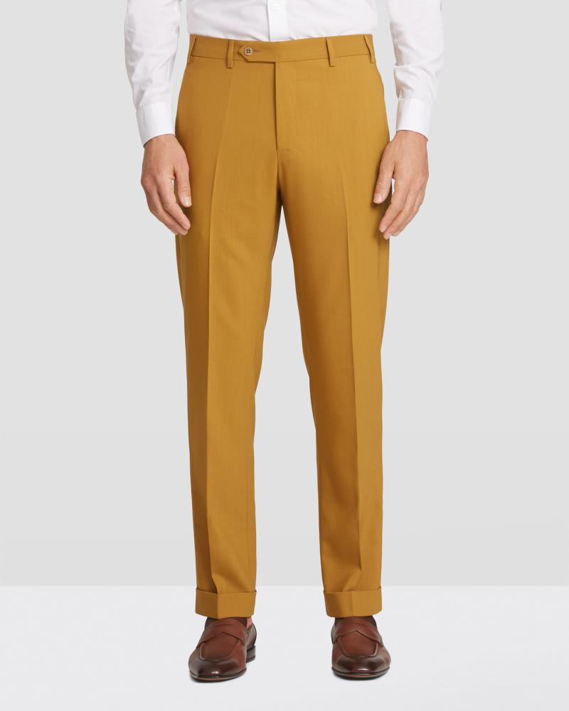 2020 Zanella Devon Flat Front Traditional Fit Slack Mustard Twist