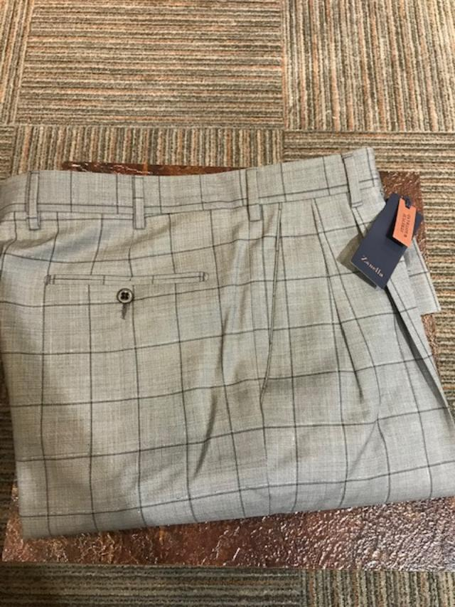 2020 Zanella Bennett Double Reverse Pleated Slack Grey Windowpane