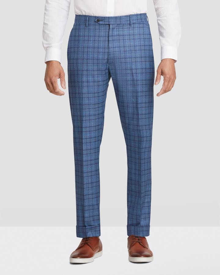 2020 Zanella Devon Flat Front Traditional Fit Slack Blue Plaid