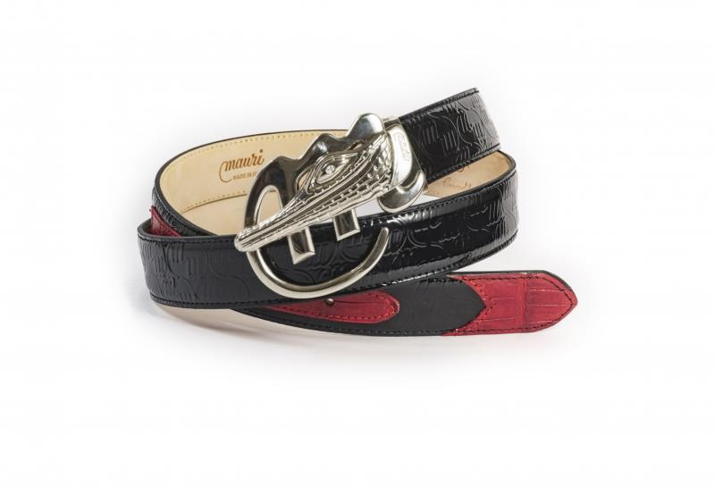Mauri Logo Belt  Patent Belt Embossed Baby Crocodile Black red